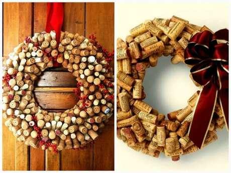 89. Enfeites de Natal criativos como essa guirlanda feita com rolhas de garrafa. Fonte: Ciclo Vivo
