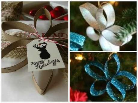 91. Enfeites de natal feitos com rolo de papel. Fonte: Pinterest