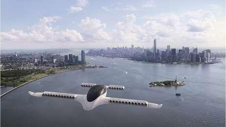 Ilustração de um avião Lilium voando perto de Nova York