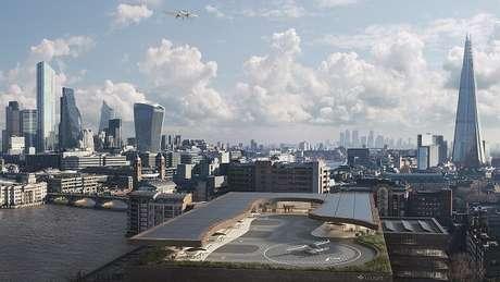 Ilustração de uma plataforma de pouso em Londres