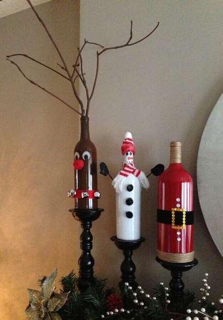 5. Modelo de garrafas decoradas natalinas – Foto: Pinterest
