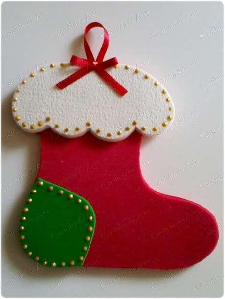 45. Meia de natal feita em EVA. Foto: Pinterest