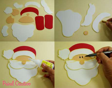 12. Alguns dos primeiros passos de como fazer enfeites de natal em EVA é recortar as peças e colá-las umas às outras. Foto: Painel Criativo