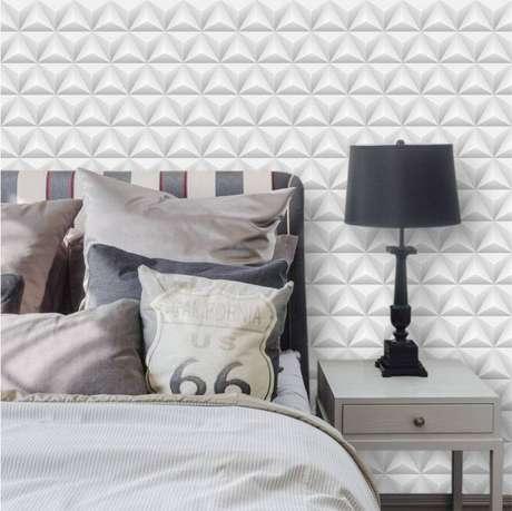 3. O papel de parede geométrico 3D oferece efeitos diferentes. Foto: Inove Papéis de Parede
