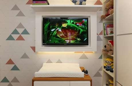8. O papel de parede geométrico sempre oferece efeitos incríveis. Projeto de Biachi & Lima Arquitetura