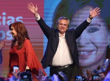 Alberto Fernández e Cristina Kirchner comemoram vitória na eleição da Argentina 27/10/2019 REUTERS/Agustin Marcarian