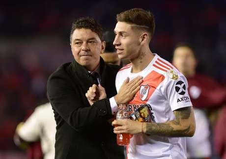Marcelo Gallardo, técnico do River Plate, e o zagueiro Lucas Martinez Quarta