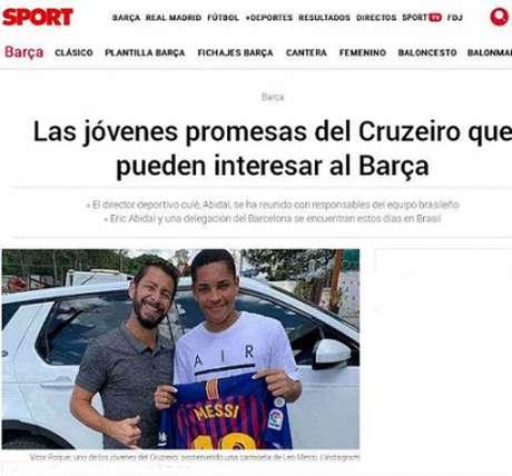 O Sport listou jovens promessas do Cruzeiro como possíveis interesses do Barcelona- (Reprodução)