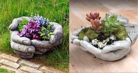 9. Peças em cimento podem compor lindos enfeites para jardim. Fonte: Pinterest
