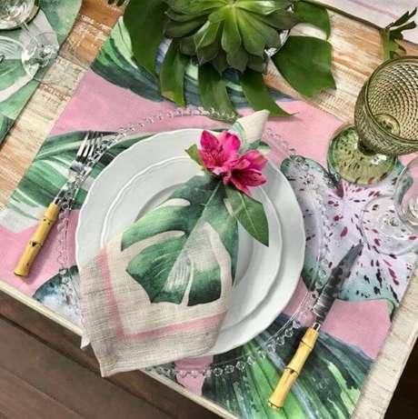 38. Guardanapo de tecido para festa tropical – Por: Décor Fácil