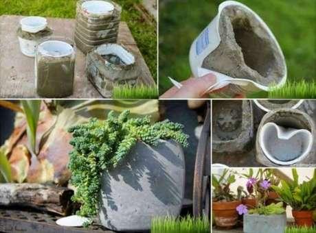 14. Como fazer enfeites para jardim de cimento. Fonte: Artesanato Passo a Passo