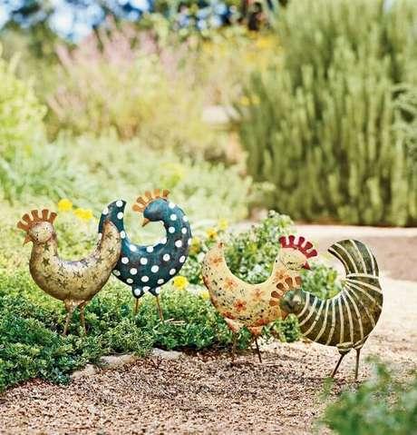 54. Enfeites para jardim que trazem descontração ao ambiente. Fonte: Pinterest