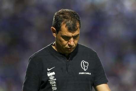 O técnico Fábio Carille, do Corinthians, durante partida contra o CSA