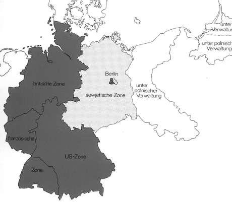 Mapa das Alemanhas Ocidental e Oriental.