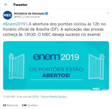 Informação errada foi publicada no perfil oficial do MEC no Twitter
