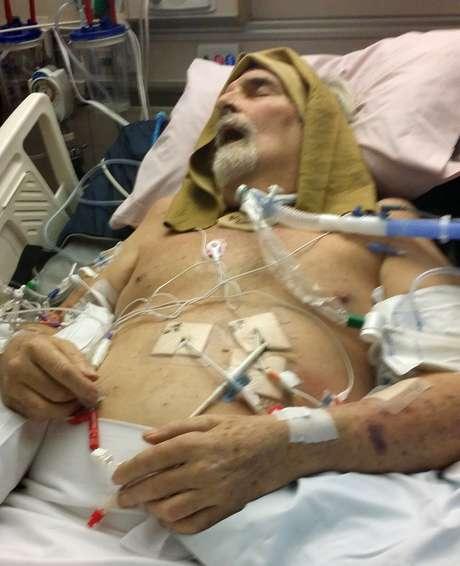Patterson antes do tratamento; ele perdeu muito peso