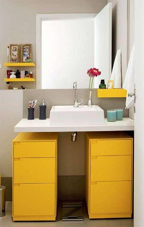 3. Gaveteiro organizador mdf para banheiro alegre em amarelo – Por: Casa Abril