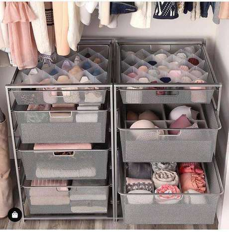 22. Gaveteiro organizado de ferro para guarda roupa – Por: Pinterest