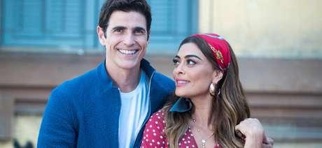 Régis (Reynaldo Gianecchini) e Maria da Paz (Juliana Paes) de 'A Dona do Pedaço': audiência em alta