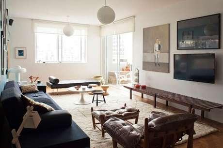 45. Poltronas para sala de tv com descanso para pés. Fonte: Casa Vogue