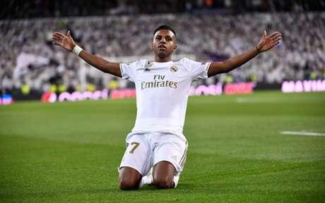 Rodrygo se destacou na goleada do Real Madrid(Foto: PIERRE-PHILIPPE MARCOU / AFP)