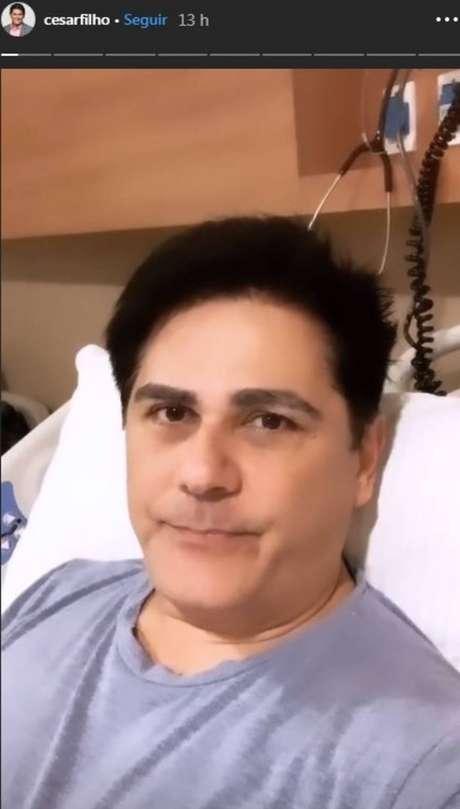 O apresentadorCésar Filho, que está internado no Hospital Sírio Libanês, em São Paulo, após diverticulite.