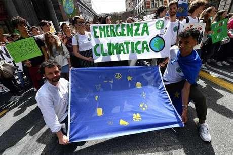 Greve estudantil contra as mudanças climáticas em Gênova, na Itália, em 24 de maio