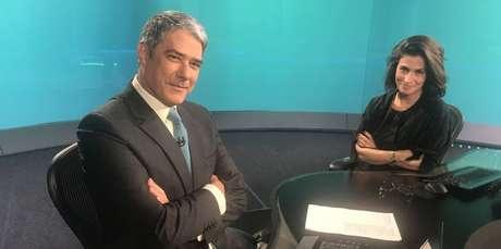 Bonner e Renata Vasconcellos: indisfarçável satisfação com os bons índices do JN no Ibope