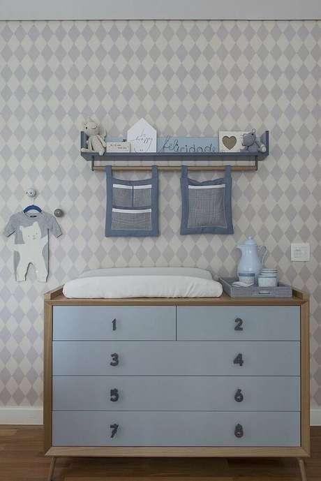 37. Puxadores de madeira com formato de números para quarto de bebê. Fonte: Pinterest