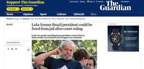 The Guardian - decisão do STF que beneficia Lula