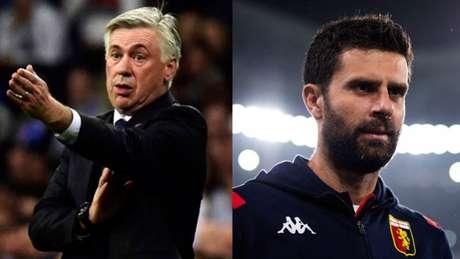 Ancelotti e Thiago Motta duelam pela primeira vez no banco de reservas (AFP: Gerard Julien e Marco Bertorello)