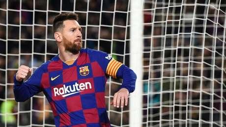 Messi marcou três gols neste sábado (Foto: JOSEP LAGO/AFP)