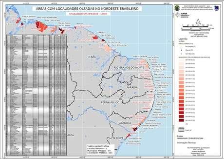 Mapa de 29/9 mostra as praias no Nordeste afetadas pelo vazamento de óleo: impacto se deu tanto em Estados ao norte quanto ao sul da bifurcação da Corrente Sul Equatorial