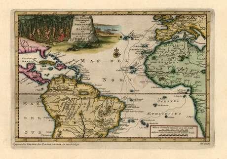 Mapa das duas viagens do alemão Hans Staden ao Brasil: em um dos percursos, ele aproveitou a Corrente Sul Equatorial para navegar do Golfo da Guiné até a costa brasileira