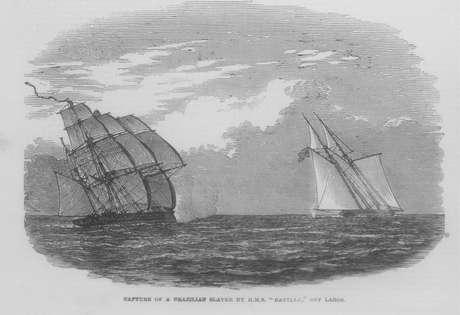 Carregado de africanos escravizados, navio brasileiro Andorinha é capturado pela Marinha britânica na costa da Nigéria, em 1849