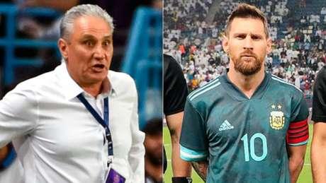 Tite discutiu com o astro argentino durante a partida (Foto: AFP)