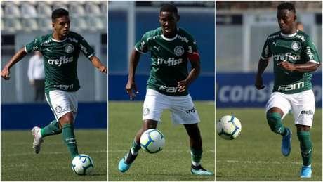 Gabriel Menino, Patrick de Paula e Angulo: garotos do Palmeiras em alta para 2020 (Foto: Ag. Palmeiras)