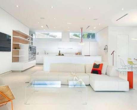 6. O sofá de canto sem braço pode ser usado tanto em salas maiores como menores – Foto: Pinterest