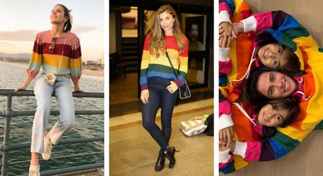 Famosas vestem blusas com listras coloridas (Fotos: Daniel Delmiro/AgNews - Instagram/Reprodução)