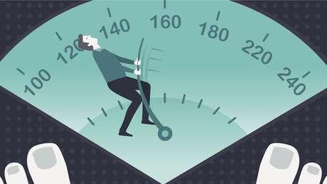 Ilustração mostra homem puxando indicador de peso para a esquerda.
