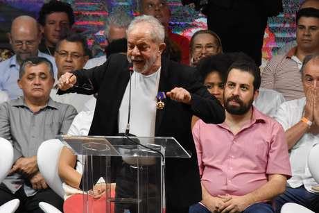 Ex-presidente Lula durante discurso no Congresso Nacional do PT