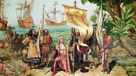 Esta imagem mostra a chegada de Colombo à América em 1492. Hernando o acompanhou em sua quarta e última viagem, em 1502