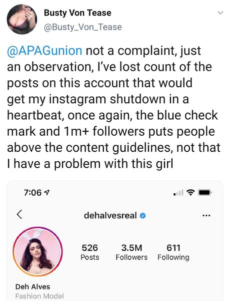 Post da artista de conteúdo adulto Busty von Tease, na qual reclaman de um post explícito de uma modelo