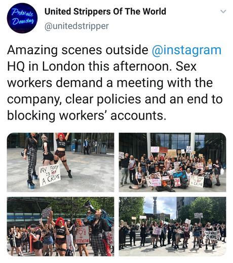 Post mostra imagens de protesto em frente à sede do Instagram em Londres