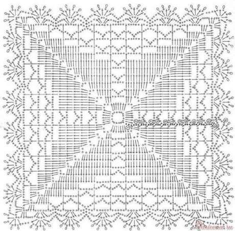 53. Molde de tapete de crochê quadrado – Por: Pinterest