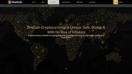 Site da OneCoin diz que 'a cripto-moeda é única, segura, global e sem risco de inflação'