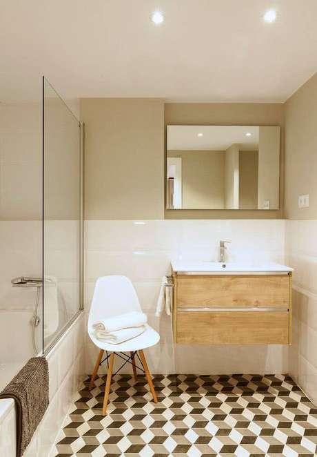 26. Até banheiros podem usar uma cadeira eames. Foto: Revista Viva Decora.