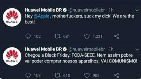 Mensagens postadas no perfil brasileiro da Huawei