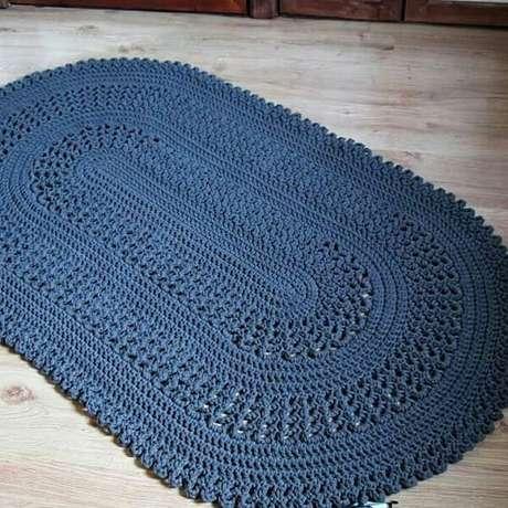 51. Tapete de crochê oval azul. Fonte: Pinterest