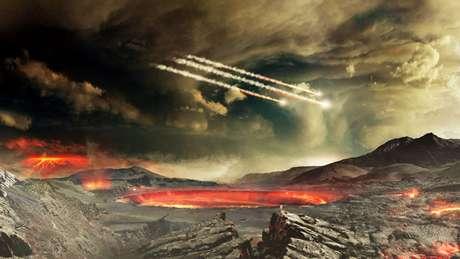 Um artista da Nasa ilustra como teria sido o bombardeio de meteoritos na Terra